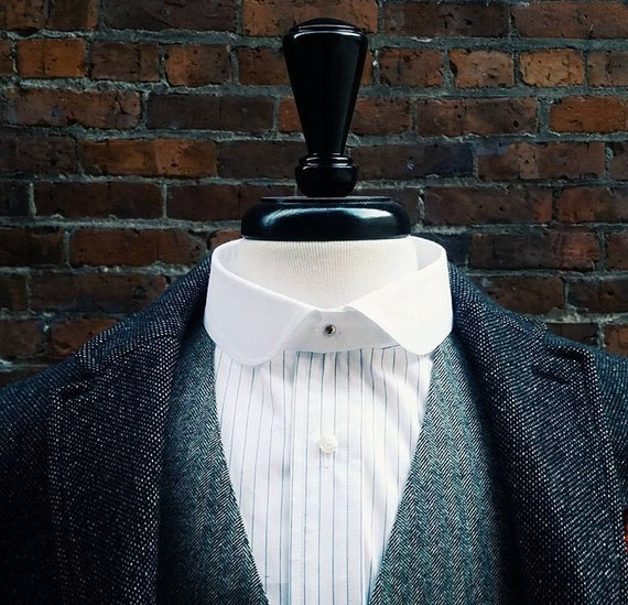 Edwardian Men's Shirts & Sweaters Starched Detachable Collars -Eton Rounded Point $30.00 AT vintagedancer.com