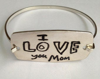 Extra Large Smooth and Shiny - Your Child's Actual Writing Silver Message Tension Bracelet - Curved Rectangle - by Surfingsilver
