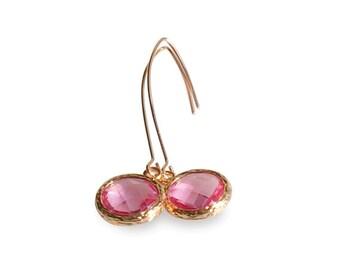Pink Crystal Gems and Rose Gold Earrins,  Pink November Birthstone Drop Earrings, Long Rose Gold Earrings, Pink Bridal Wedding Jewelry