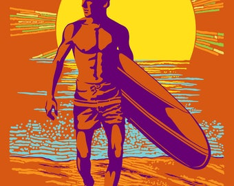 San Diego, California - The Endless Summer - Psychedelic Surfer - Lantern Press Artwork (Art Print - Multiple Sizes Available)