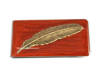 Money Clip Antique Gold Feather Inlaid in Hand Painted Enamel Metallic Copper Custom Colors and Personalized Options
