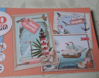 x 1 block book 20 mixed sheets 3D image sailor patterned card die cut 24.5 x 14 cm
