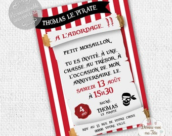 "Customizable ""Pirates"" - printable personalized Invitation birthday invitation"
