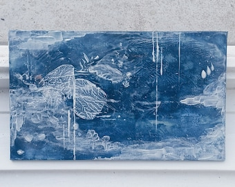 Chasing ice - wall painting, painting, abstract painting, acrylic on cardboard, 15x25cm