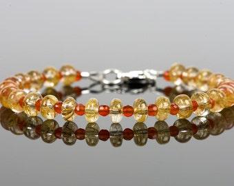 Rutilated Quartz, Carnelian Gemstone, Gemstone Bracelet, Handmade Jewelry, Gemstone Jewelry, unique gift for wife, fashion, chakra, energy