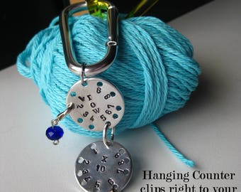 Clip on Knitting Counter - Hand Stamped - disc row counter, Up to 100 rows, gift for a knitter, crocheter, manual row counter,
