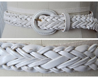 Women's Vintage 80s Dockers Distressed White Painted Leather Braided Belt // Size S M
