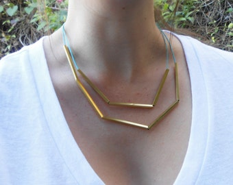 Layered Geometric Necklace in Two