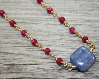 Natural Kyanite Square Gemstone on Ruby Wire-Wrapped Rosary Chain / Necklace / Genuine Gemstone Jewelry