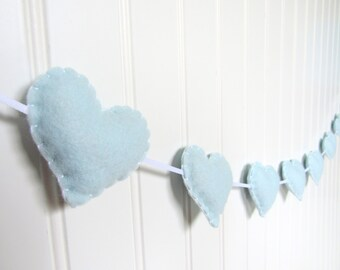 Heart banner / garland / bunting - baby blue - Nursery decoration