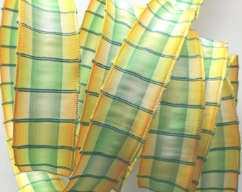 Fancy x 4 meter - 1439 yellow and green PLAID Ribbon