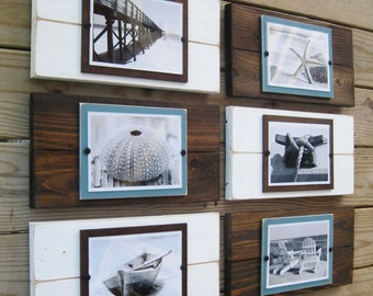 Set of 6 Plank Frames for 5x7 Pictures Perfect for Farmhouse, Rustic or Coastal Decor
