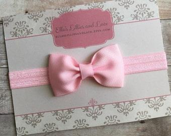 Pink Bow Headband, Baby Girl Headband, Newborn Headband, Toddler Headband, Hair bow Headband, hair accessorie, baby shower gift