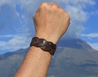 Braided Leather Bracelet for Men - Leather Wristband in Brown - Bracelets for Guys - Leather Braided Bracelets - Men Presents 2390