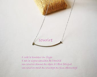 Necklace tinaium steel waterproof signe smile with chaine extension of 5cm