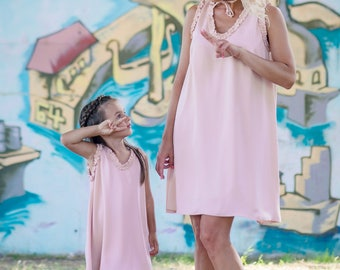 Mommy And Me Dresses, Mommys Girl Dresses, Matching Pink Dresses, Bohemian Clothing, Plus Size Dresses, Romantic Dress, Sleeveless Dress
