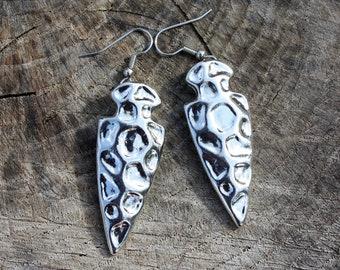 Silver Arrowhead Earrings - Arrowheads - Arrowhead Jewelry - Arrow Earrings - Tribal Earrings - Chunky Earrings - Two Feathers Jewelry