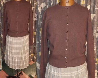 Vintage 1950's Winter Warmth Brown Cashmere Soft Pin Up Style Cold Weather Womens Sweater - L