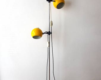 Floor lamp etsy vintage space age floor lamp two shaded yellow aloadofball Image collections
