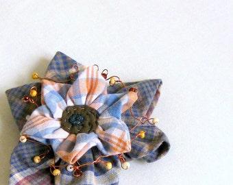 Shawl pin brooch beaded wire folded fabric flower