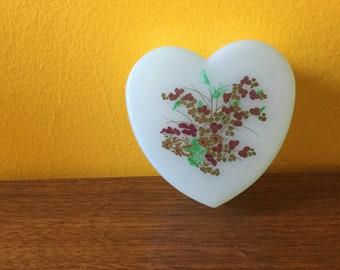 Vintage Green Trinket Box with Flowers