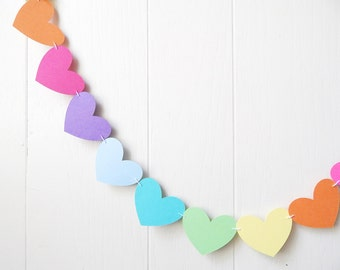 Rainbow Heart Garland / Wedding Decoration / Love Bunting / Anniversary Decor / Nursery Decor / Photo Prop / Adjustable Hand Sewn