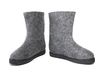 Felt Boots Mens Boots Womens Boots Grey Winter Boots Valenki, Custom Shoes Felted Shoes Platform Boots, Waterproof Rubber Soles for Outdoor
