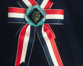 Red White and Blue clip on bow-tie/brooch