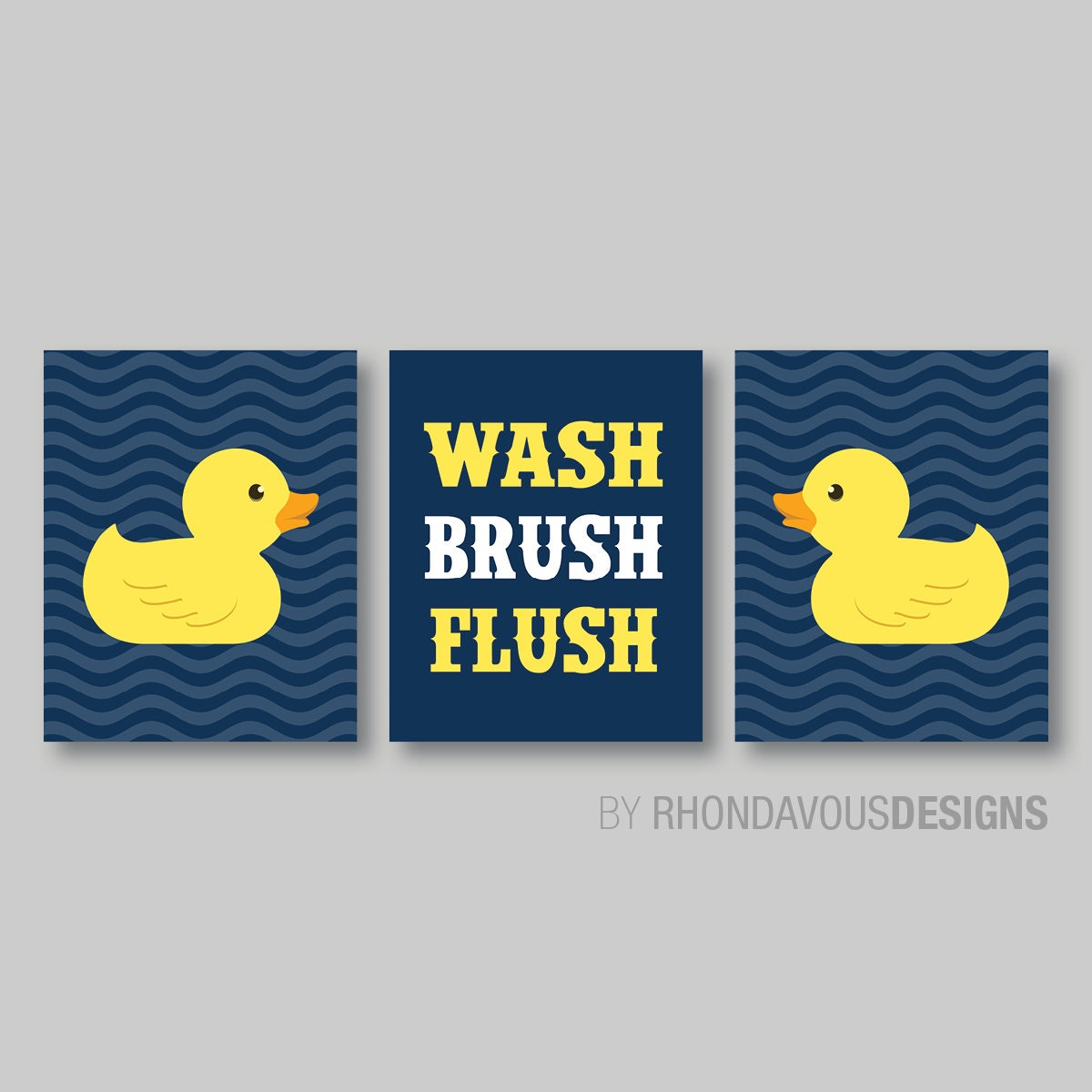Boy Bathroom Art   Boy Bathroom Decor   Duck Bathroom Art   Child Bathroom    Rubber Duck Bath Decor   Wash Brush Flush   Navy Yellow NS 589