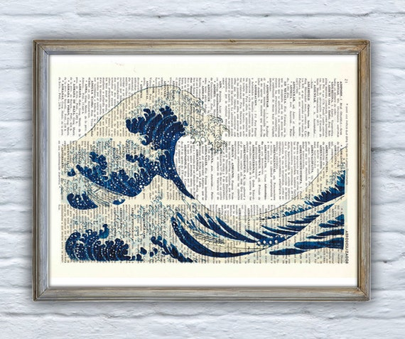 Japanese wave print, art print on Dictionary Page, wall art home decor. Sealife wave print, Ocean life SEA001
