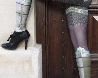 TAFI Fantasy Armor Leggings - Elven Green Plate Chain Mail Armour 3D Printed Design Black Milk Galaxy Dance Costume Yoga Pants