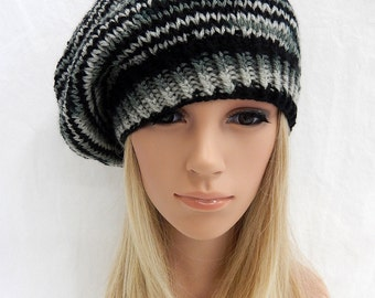 Knit Hat Slouchy Beret Handmade .. Black,Gray,Silver Multi  (Ready to Ship)