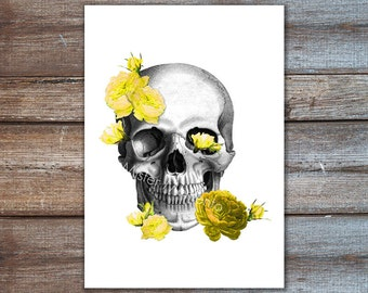 Skull with flowers poster - yellow roses