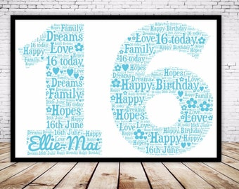 Personalised Word Art Gift Framed 16th Birthday Wedding Anniversary Mum Daughter Son Auntie Sister Friend Brother Uncle