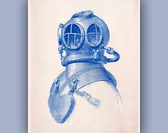 Diver Helmet Print, 11x14 Print,  Vintage image scuba diving helmet print, blue print,  Marine and  Nautical art,  Coastal Living,