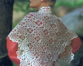 Shawl Crochet Pattern Women's Motif Shawl Digital Crochet Pattern  Instant Download