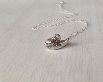 Tweet Tweet Pendant //  little Sterling Silver Bird Necklace