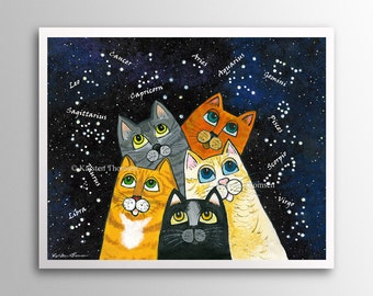 Stargazing Cats – Searching for Constellations | Art Print | Whimsical Cats Gazing at Stars