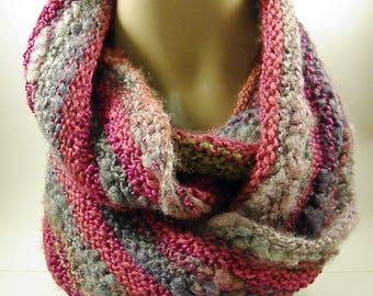 Multicolored Hand Knit Cowl