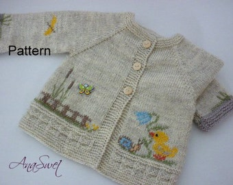 Knit baby pattern.Pattern baby cardigan with chicken.PC004