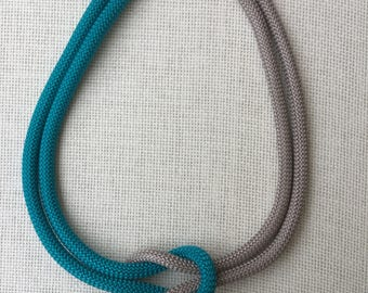 Handmade turquoise and grey climbing cord necklace