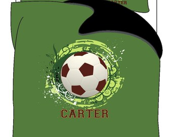 Classic Soccer Bedding, Green with Red Ball,  Personalized with your Name -Toddler, Twin, F-Queen or King Size
