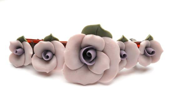 Large Porcelain Flower Barrette  = Purple green  Flower - Made in France  floral  Hair clip