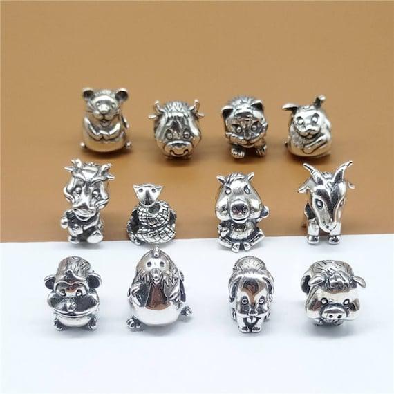 Animal set of Pendant Charms Dog, Monkey, Horse and Pig will fit Pandora and Biagi charm bracelets