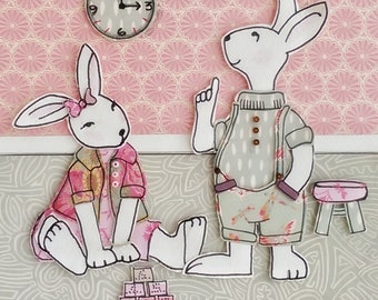 Betty & Bobby Paper Art Picture by Lillyblossom. Two Rabbits 3D layered card paper baby shower nursery hand drawn and cut