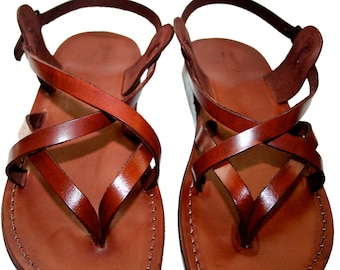 Brown Mix Leather Sandals For Men & Women - Handmade Unisex Sandals, Flip Flop Sandals, Jesus Sandals, Genuine Leather Sandals