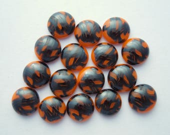 Orange And Black Beads - Fused Glass Beads - Lampwork Beads - Fused Glass - Jewelry Findings - Small Beads - Cabochon - Cab  3627
