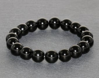 10mm AAA Grade Black Tourmaline Bracelet, Tourmaline Jewelry, EMF Protection Bracelet Anxiety Relief Healing Energy Purification & Grounding