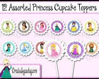 Princess Birthday cupcake toppers Princess Cupcake Tops Princess Party Decorations Custom food picks Royal party cake toppers 12 assembled