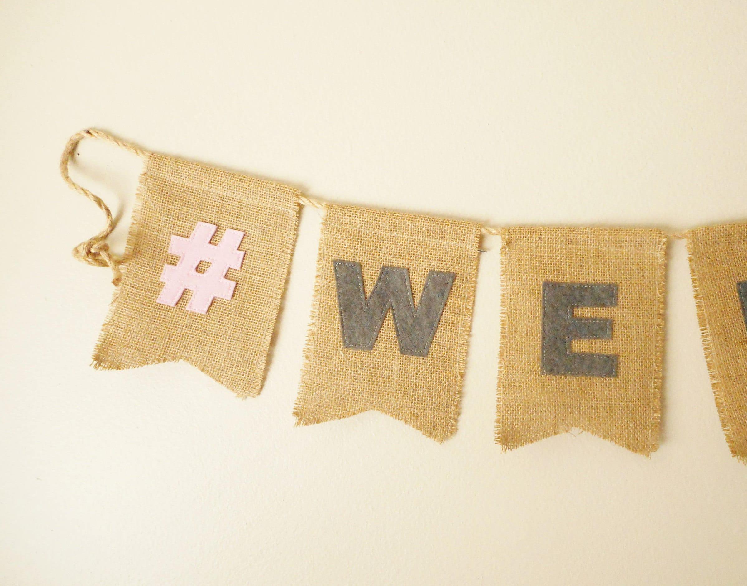 Hashtag Banner Burlap Sign Custom Personalized Hashtag